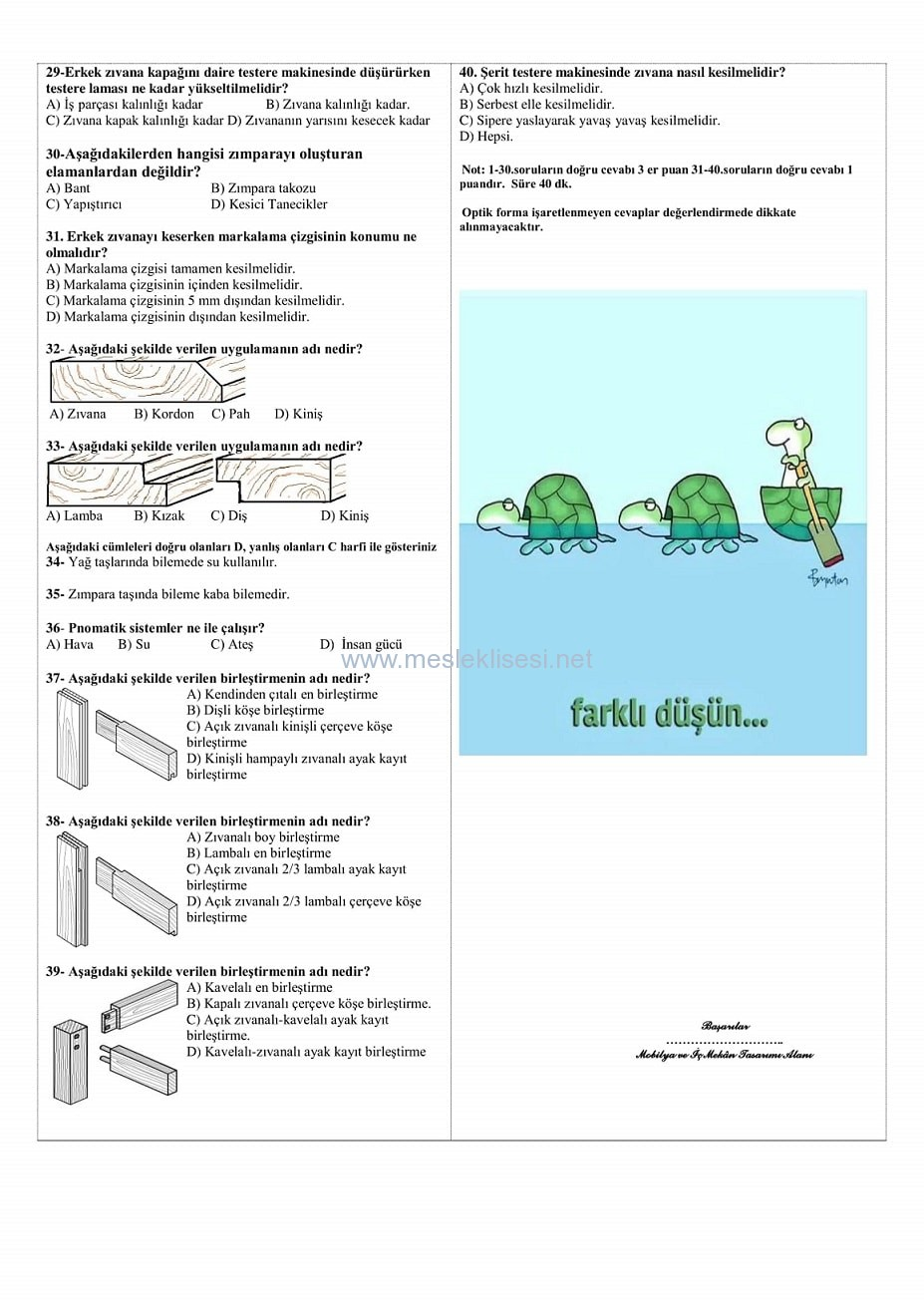 Mobilya Yapım Teknikleri Dersi 2. Dönem 2. Sınav