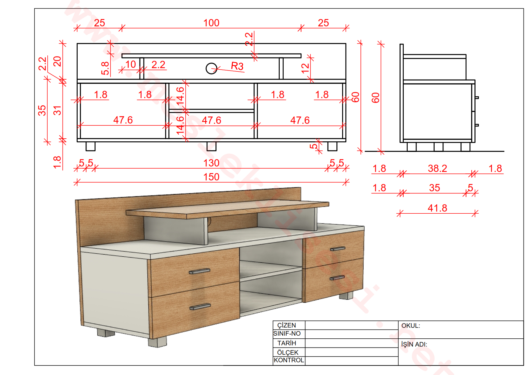 Autocadde televizyon dolabı (ünitesi) çizimi ayrıntılı ölçüler..