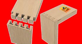 Kırlangıç kuyrugu yarım gizli dişli tabla köşe birleştirme