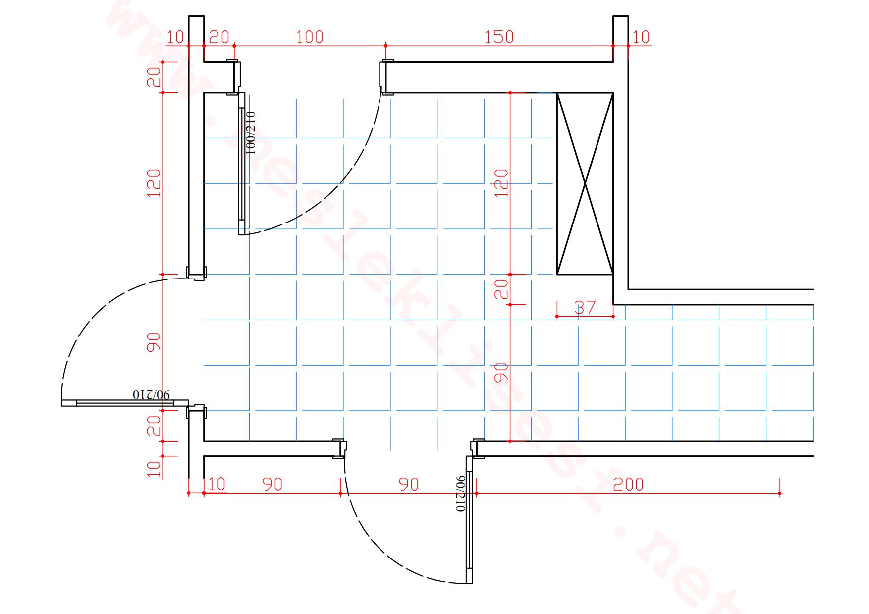 Bilgisayarlı Konut Mekan Resmi Antre Plan ve Duvar çizimi