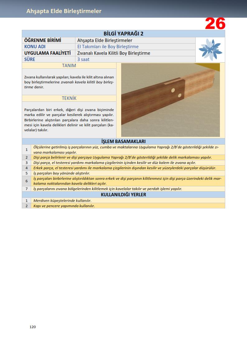 Zıvanalı Kavela Kilitli Boy Birleştirme -Birleştirme Teknikleri
