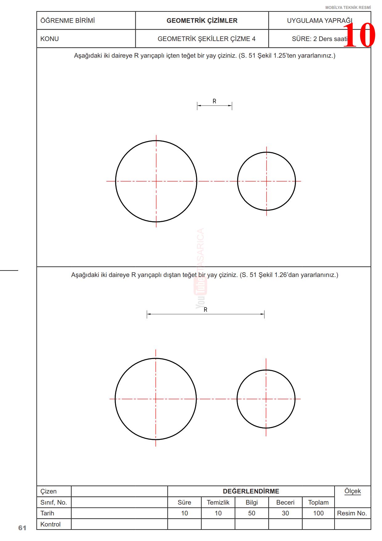 Teknik Resim Geometrik Çizimler Uygulama Yaprakları 10