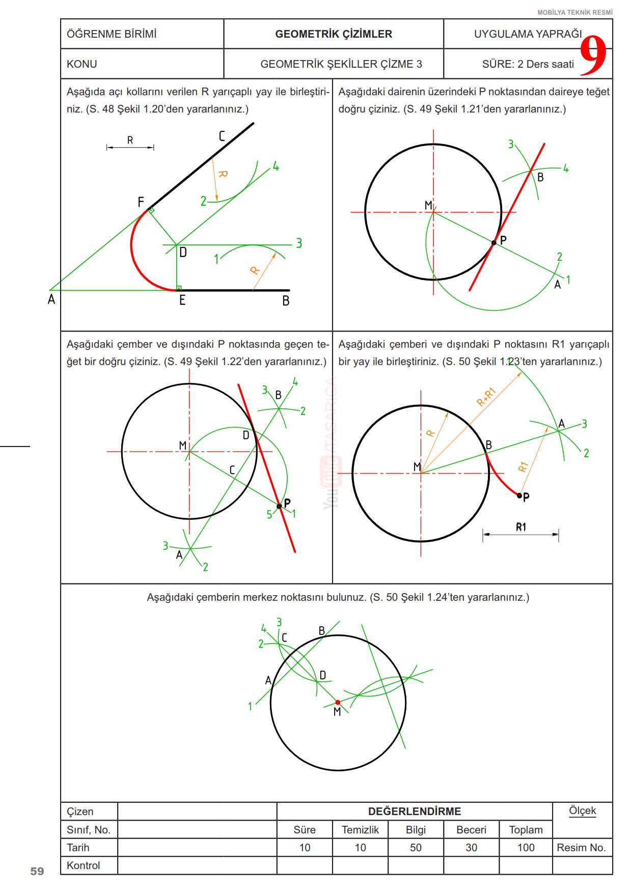 Teknik Resim Geometrik Çizimler Uygulama Yaprakları 9 Çözüm