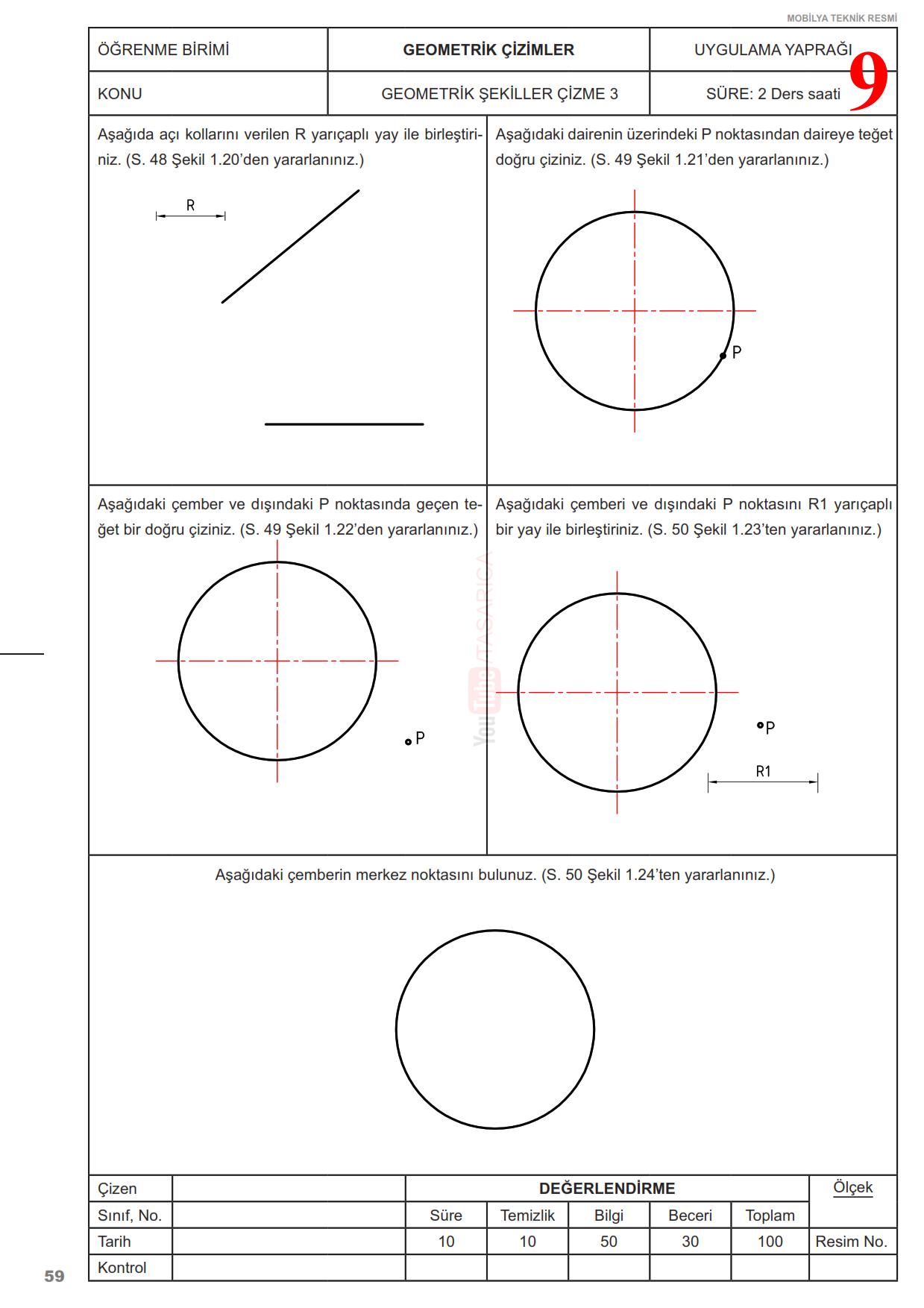Teknik Resim Geometrik Çizimler Uygulama Yaprakları