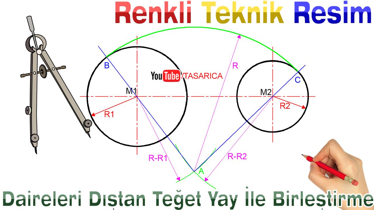 İki dairenin R yarıçaplı dıştan teğet yay ile birleştirilmesi