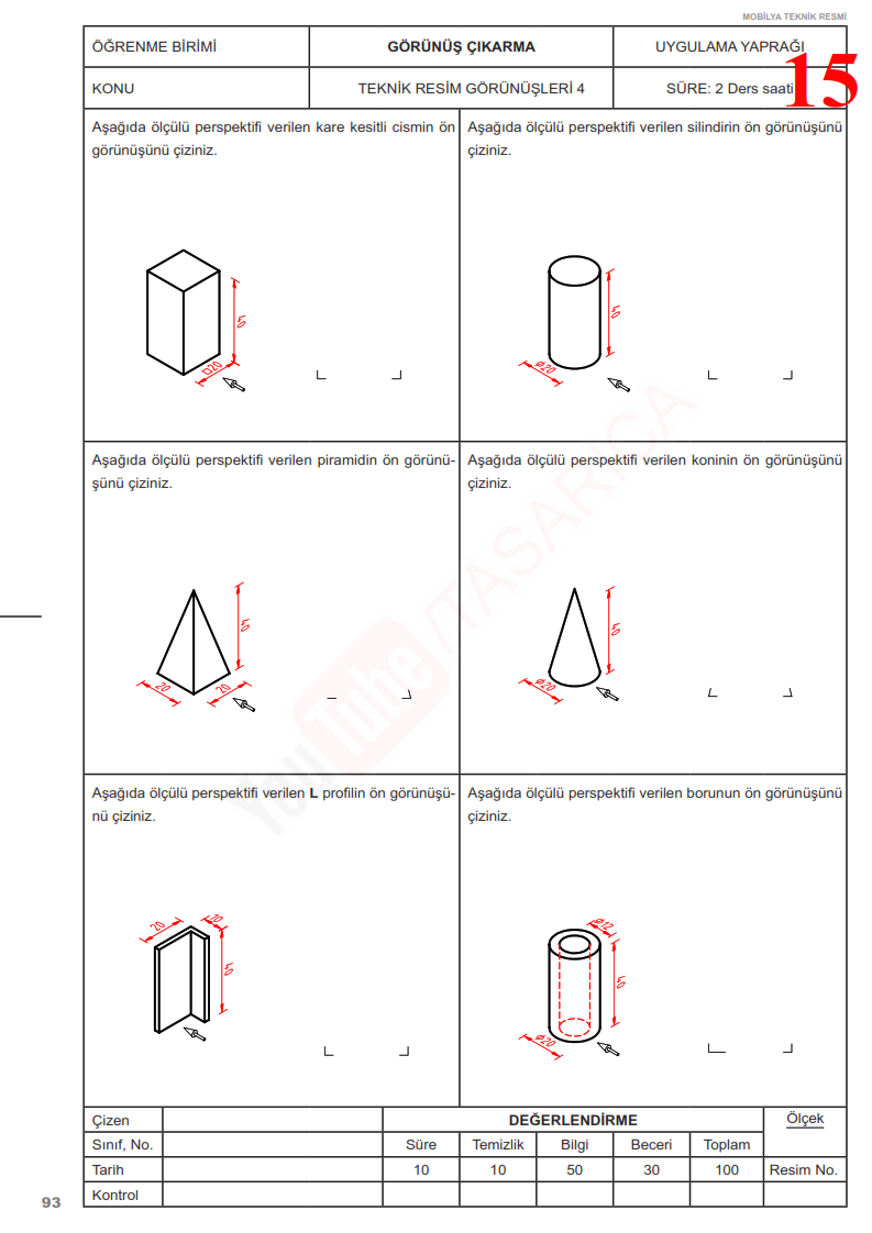 Görünüş Çıkarma Örnekleri - Tek Görünüşle İfade Etme
