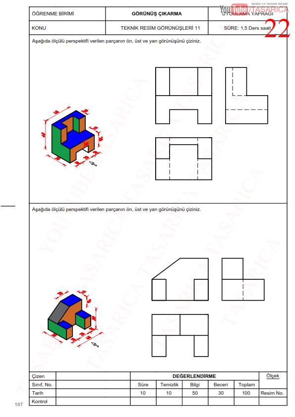 Görünüş Çıkarma Örnekleri, Uygulama yaprakları-22 Üç Görünüş Çıkarma Çözüm