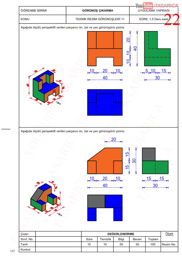 Görünüş Çıkarma Örnekleri, Uygulama yaprakları-22 Üç Görünüş Çıkarma Renkli ve Ölçülü