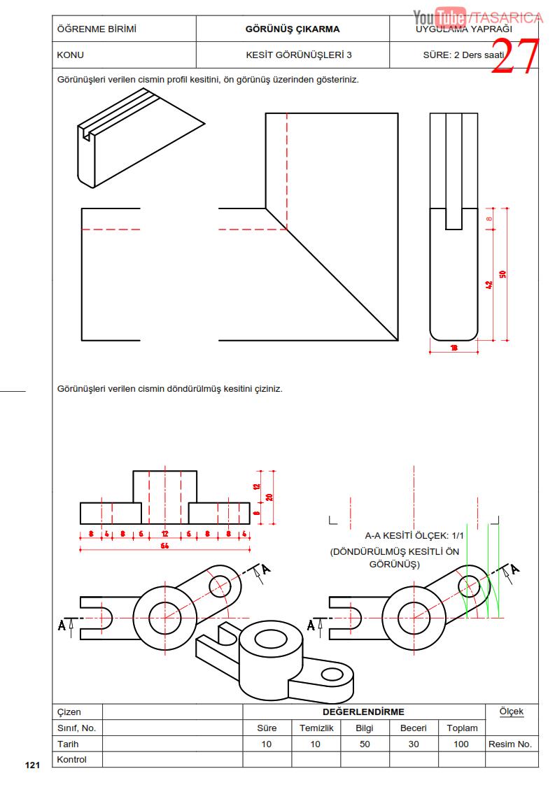 Profil Kesit ve Döndürülmüş Kesit, Teknik Resim Uygulama Yaprağı