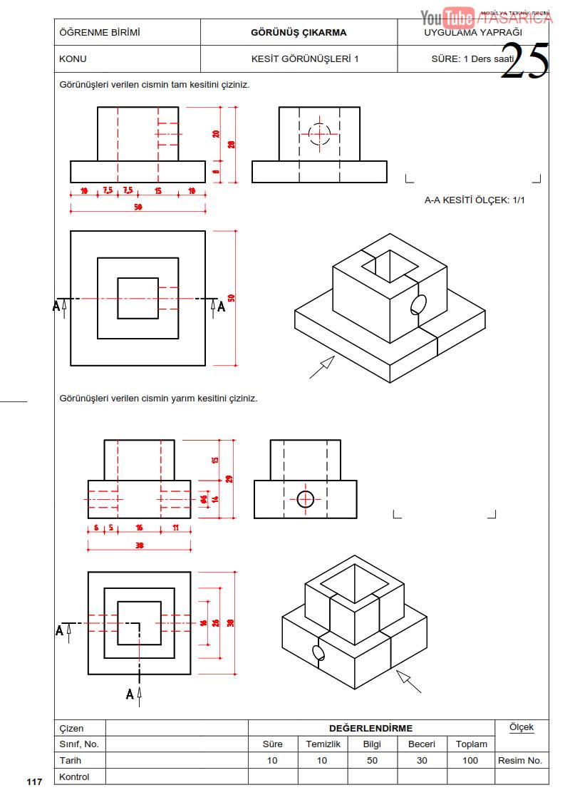 Tam Kesit ve Yarım Kesit Teknik Resim Uygulama Yaprağı 25