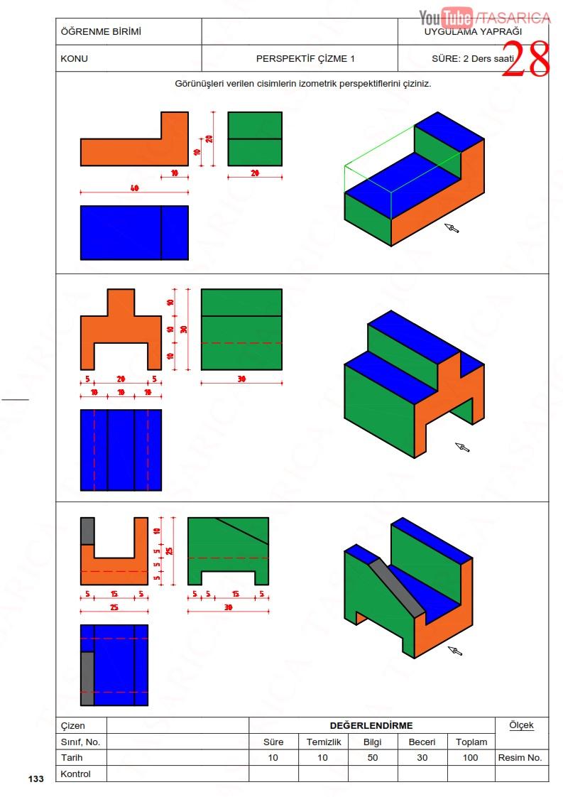 Üç görünüşten izometrik perspektif çizme-çözüm