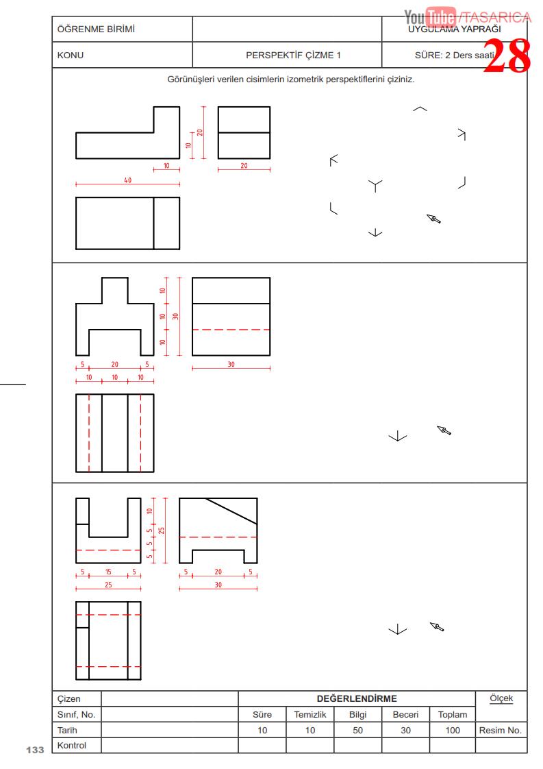 Üç görünüşten izometrik perspektif çizme