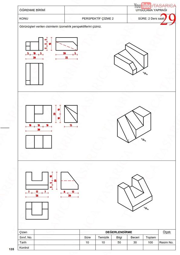 Üç görünüşten izometrik perspektif çıkarma- Çözüm